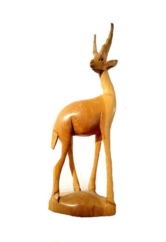 Wood Statue, Wood Figurine, Wood Art, Wood Oryx, Sabre Antelope, Wood ...