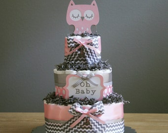 Three tier owl diaper cake with 'oh baby' and owl die cuts, multiple colors available, owl baby shower centerpiece, owl party decorations