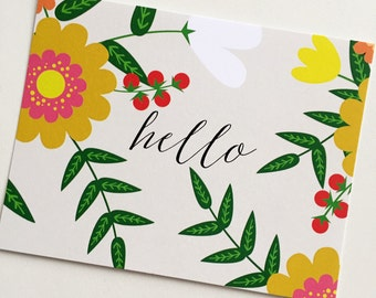 Floral Hello Note Card / Greeting Card / Stationery
