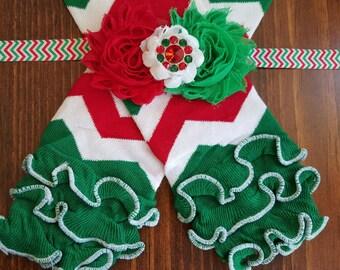 DISCOUNTED Christmas Chevron Ruffle Leg Warmers w/ Matching Headband