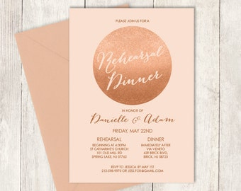 Rose Gold Rehearsal Dinner Invitation / Gold Sparkle Glitter Wedding / Metallic Gold and Coral ▷ Printed Wedding Invitations {or} Printable