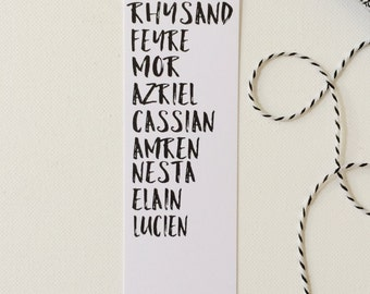 ACOMAF Squad Bookmark, A Court of Mist and Fury, ACOMAF