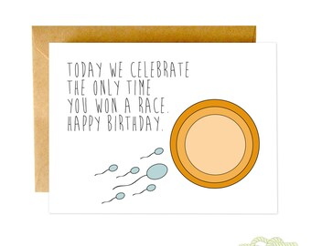 Funny Birthday Card, Funny Greeting Card, Birthday Card, Funny Sperm Card, Blank Birthday Card, Funny Card, Sarcastic Birthday Card, Vagina