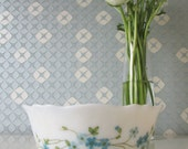 One Vintage Arcopal Bowl with Blue Floral Veronica Design 70s