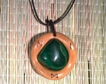 Rune pendant. Malachite gemstone. Rune amulet. Wood rune pendant. Viking amulet. Elder Futhark runes. Pagan pendant. Spiritual jewelry.