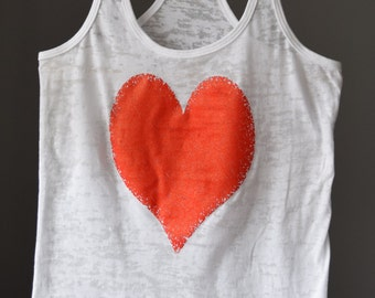 Valentine's Day Red Heart Womens Workout Tank Top. Exercise Tank. Running Tank. Fitness shirt. Burnout Workout Tank. Fun Run.