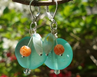 Aqua Sea Glass Dangle Earrings With Orange and Yellow Accents