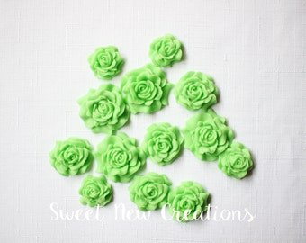 mint green fondant flowers cake pops decorations edible party favors sugar flowers edible flowers fower cupcake toppers mint green rose
