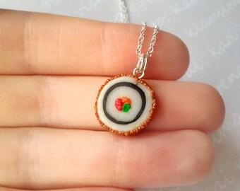 Tiny sushi necklace, miniature food jewelry, kawaii necklace, sushi pendant, seafood, japanese dish, kawaii pendant, best friend