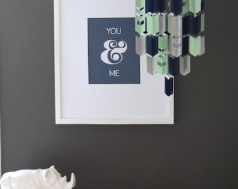 Blue, Mint and Grey Aztec Arrow Paper Mobile Chandelier (With Chevron Cutouts)