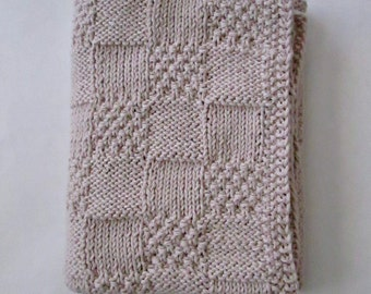 Hand Knit Organic Cotton Baby Blanket