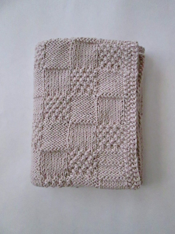 Knitting Pattern Cotton Blanket : Hand Knit Organic Cotton Baby Blanket