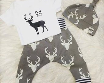 D is for Deer outfit, Deer outfit, baby clothes, baby harem pants, deer pants, baby outfit, baby set