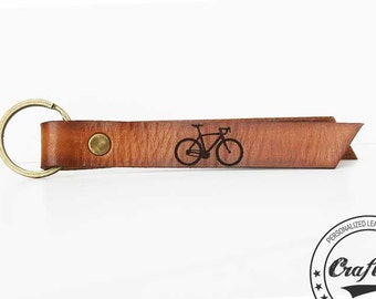 Bicycle Keychain,  Bike Keychain, Cyclist Gift, Bike Accessories, Gift for Cyclists, Custom Engraving, Bike Rider Gift, Bicycle Leather