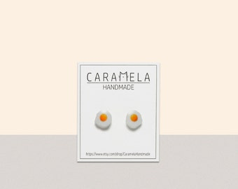 Fried Egg Earrings Egg Stud Earrings Egg Egg Jewelry Miniature food earrings Gift Idea