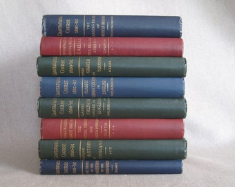 Antique Book Bundle in Blue, Green and Red, Eight Chautauqua Course Books, Decorative Book Set