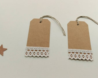 Lot of 2 labels kraft and lace