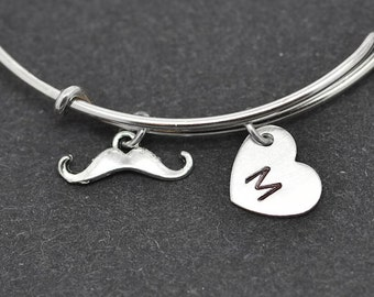 Mustache Bangle, Sterling Silver Bangle, Mustache Bracelet, Bridesmaid Gift, Personalized Bracelet, Charm Bangle, Initial Bracelet