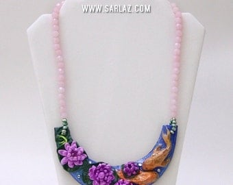 Koi fish necklace -  Polymer clay necklace - Koi fish pond