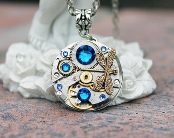 Steampunk necklace, steampunk dragonfly, blue necklace, dragonfly necklace, steampunk jewelry