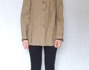 Vintage 70s 80s Brown Cream Striped Jacket
