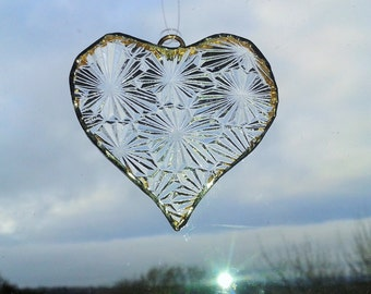 Hand Made Stained Recycled Textured Clear Glass Mini Heart Suncatcher. Gift or decoration. Wedding favours. Tree decoration.