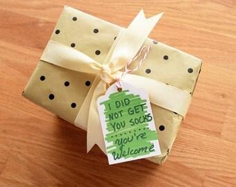 Funny holiday gift tags, funny christmas gift tags, christmas present tags, christmas gift wrap, wrapping supplies, christmas present wrap