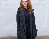 Damski sweter, Czarna bluza z kapturem, Bawełniany kardigan, asymetryczny, płaszcz z kapturem, ręcznie robiony przez Navaho, Bluza damska, odzież Navaho