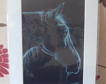 pastel pencil drawing print, equine, black horse, silhouette of a horse, horse head