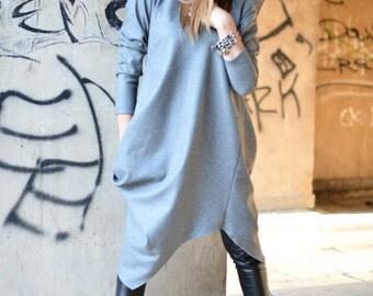 Wool Cashmere dress, Winter dress, Warm dress, Plus size women Maxi Dress, Grey wool Dress, Asymmetrical dress by EUGfashion - DR0090CA