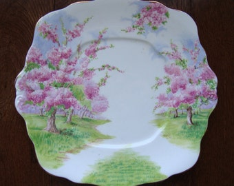 Blossom Time - Square Handled Cake Plate - Royal Albert Bone China England - Scenic - Trees with Apple Blossoms -Starter/Replacement Piece