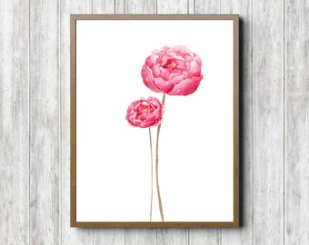Watercolor Flower Printable Wall Art - Pink Wall Decor - Office Wall Poster - Nursery / Girls Room Print - 2 Flowers - Instant Download