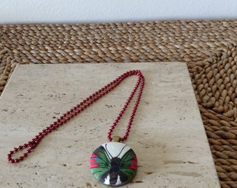 Upcycled/recycled colorful Butterfly fabric button pendant with red ball chain necklace. Handmade. Cute as a button.