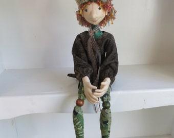 Irish Leprechaun Art Doll, Celtic Elf Cloth Doll, Celtic Fairy