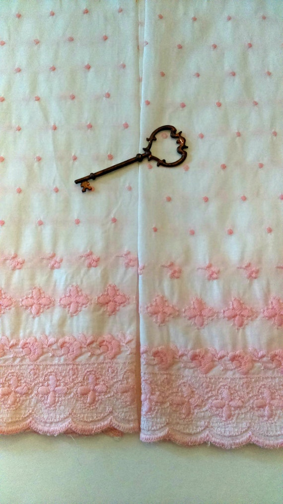 vintage pink dotted swiss curtains: polka dot white with pink