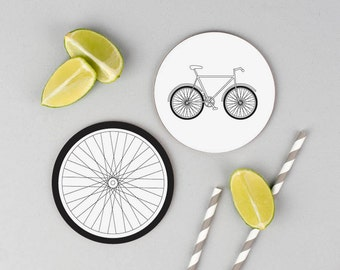 Bicycle coasters - bike coasters - set of four coasters - gift for cyclists -cycling - cycling gifts - bike - monochrome homeware