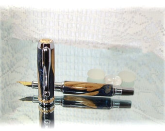 Worthless Wood Fiji Burl Navy Black 2 in oneTriton Rollerball and Fine Medium Fountain pen