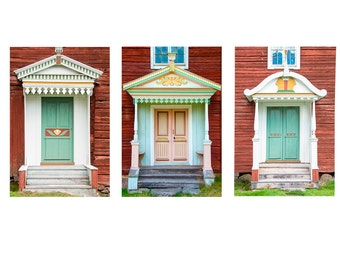 Door Photography, Pastel Doors Set of Three, Old Doors Photo, Pastel Color, Turquoise Yellow Teal, Country Decor, Large Wall Art, Home Decor