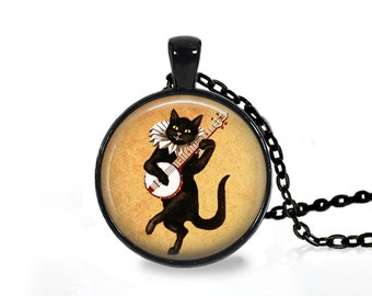 Dancing cat pendant Vintage music jewelry Animal necklace