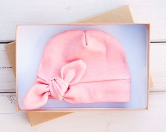 Baby Girl Organic Cotton Newborn Beanie with Bow - Pink Coral - Newborn Hat Baby Beanie - Baby Girl Winter Cap - Hospital Hat - Infant Bow