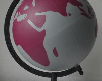 Hand Painted Globe - Wedding guest book. Travel gift