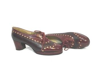 1970's Heels | Red & Maroon Platform Oxford Saddle Heels | Size: 6.5