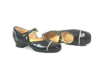 1920's Heels | Hamilton Brown Twinkies Black Mary Jane Heels | Size: 4