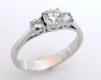 Three diamond ring, Round diamond engagement ring, Diamond engagement ring, Classic engagement ring, Bridal ring, 18k gold engagement ring