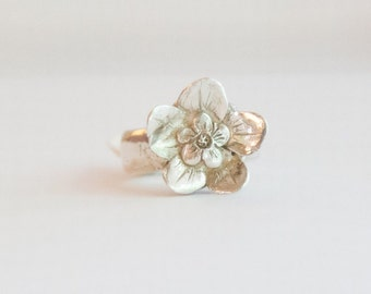 FLOWER RING fine silver, metal clay, forget-me-not,
