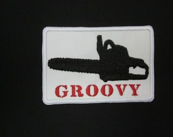 Groovy Chainsaw Iron or Sew On Patch