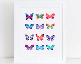 Butterflies Art Print, Butterflies Printable, Instant Download,  Printable Home Decor, Digital Art Print, Butterfly Art, Butterflies Print