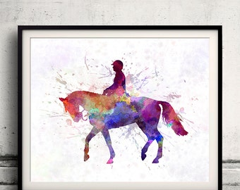 Horse Show 02 in watercolor - poster watercolor wall art splatter sport illustration print Glicée artistic - SKU 2026