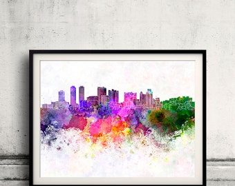 Colombo skyline in watercolor background 8x10 in. to 12x16 in. Poster Digital Wall art Illustration Print Art Decorative - SKU 1101