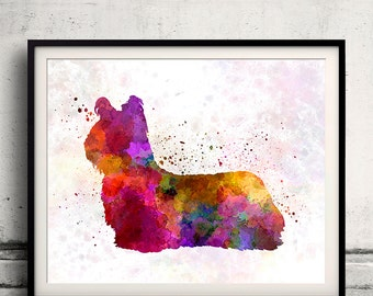 Sky Terrier 01 in watercolor - Fine Art Print Poster Decor Home Watercolor Illustration Dog - SKU 1444